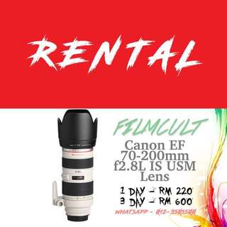 Rental Canon EF 70-200mm f2.8L USM Lens