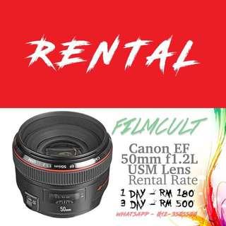 Rental Canon EF 50mm f1.2L USM Lens