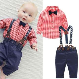 ✔️STOCK - 2pc CNY RED GINGHAM CHECKERED LONG SLEEVES SHIRT & PANTS SET WITH BOW RIBBON TIE NEWBORN BABY TODDLER BOY KIDS CHILDREN CLOTHING