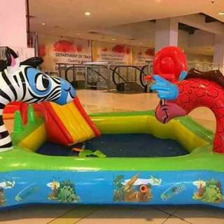 Inflatable animal slide pool