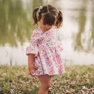 ✔️STOCK - CNY FLORAL LONG RUFFLED SLEEVES SUN DRESS BABY TODDLER GIRL ROMPER KIDS CHILDREN CLOTHING