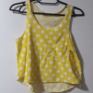 Yellow Polka Dots Crop Top