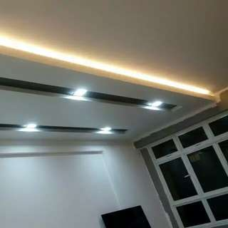 False ceiling with lights wiring