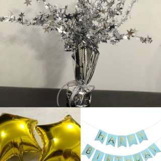 Birthday party banner, balloon and centerpiece