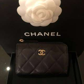 Chanel limited edition calfskin gold hardware Chanel print coin purse key card holder 香奈兒限量版牛皮金扣chanel壓紋零錢鎖匙卡銀包
