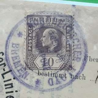 STRAITS SETTLEMENTS , SINGAPORE - 1910 - King Edward -  EINKOMMEND , Germn Shipping Line Paper - in31