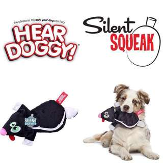 BN Hear Doggy Flattie Black Skunk Ultrasonic Silent Squeaker Dog Toy