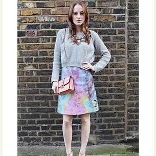 Carven Velvet Oil Print Midi Skirt (Size: EU36)