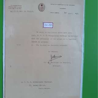 OFFICE OF THE SECRETARY TO THE RESIDENT , SELANGOR 1928 Letter F.M.S. - in50