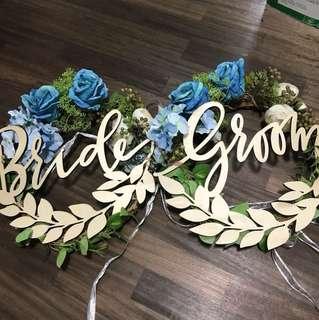 Bride & groom flower deco