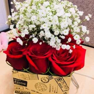 Valentine pre-book box of flower/ flower bouquet