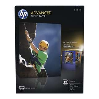 HP Durable Glossy Finish Water Resistant Advanced Photo Paper, 5 X 7 in, 10.5 mil, 66 lb, White, Pack of 60