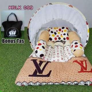 Kasur Lipat Bayi dan Kelambu motif LV
