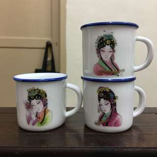 "Chinese Retro Mini Imitation Enamel cup-ladies ""复古迷你仿搪瓷杯""-6pcs"