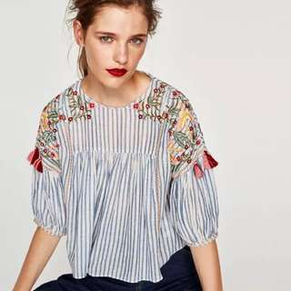 Zara embroidery tassel cropped top