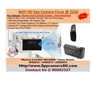 SPY CAMERA CLOCK WITH WIFI AND RECORDING FUNCTION