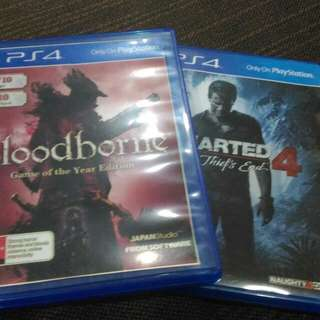 Ps4 used game bloodbourne & Uncharted4