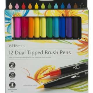 WHSmith Dual Tipped Brush Pens (12 Count)