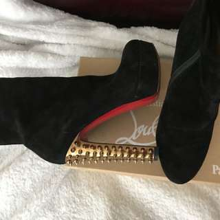 Authentic Louboutin Boots with Gold Studs