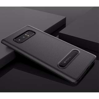 Ultra Thin Carbon Fiber Soft TPU Case with Kickstand Bracket for Samsung Galaxy Note 8