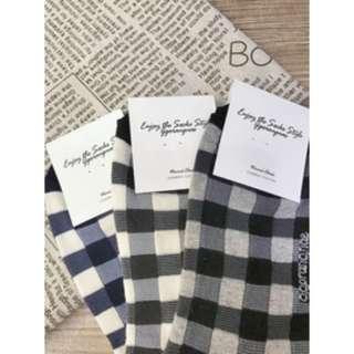 韓國棉襪 格子控必入手 2/1棉質襪 品質優良 熱賣款