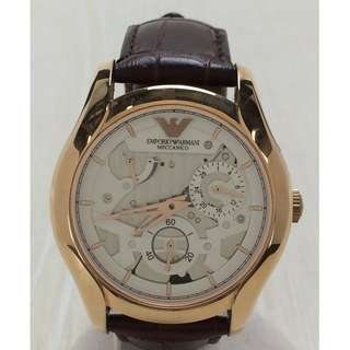 EMPORIO ARMANI ◆ Automatic wristwatch / analog / leather / WHT / BRD