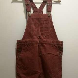 Collect point工人裙 深紅色 可變短裙