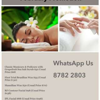 Waxing,Nails,Massage & Facial promo