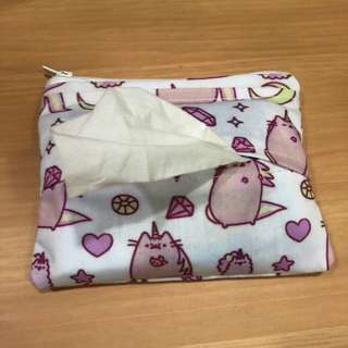 Handmade Pusheen tissue cum coin pouch