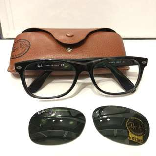 Ray Ban 黑框眼鏡(另備太陽鏡)eye glasses (with sun glasses lens)