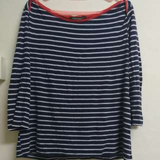 Red and blue strips top