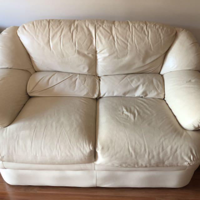 3 + 2 Beige Leather Sofas