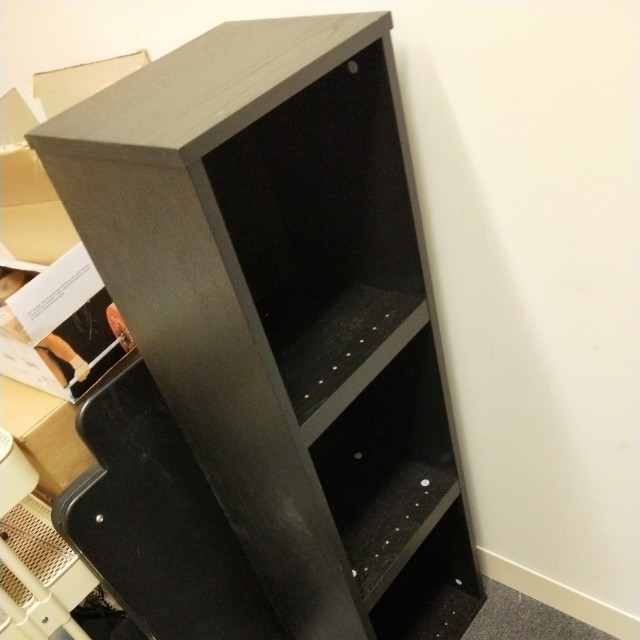 3 tier black bookshelf