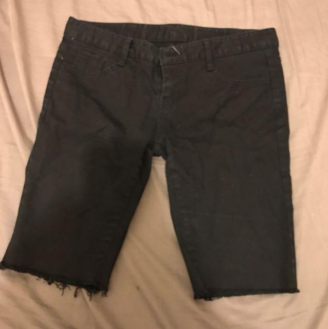《二手》黑色窄管牛仔五分褲