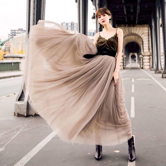 法式全長重磅紗裙-可可色