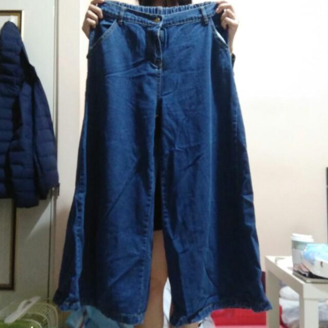 超寬牛仔寬褲