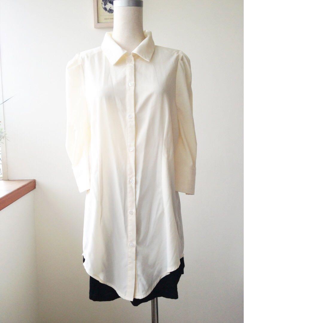 正韓製 簡約長版襯衫 米白色 #冬季衣櫃出清