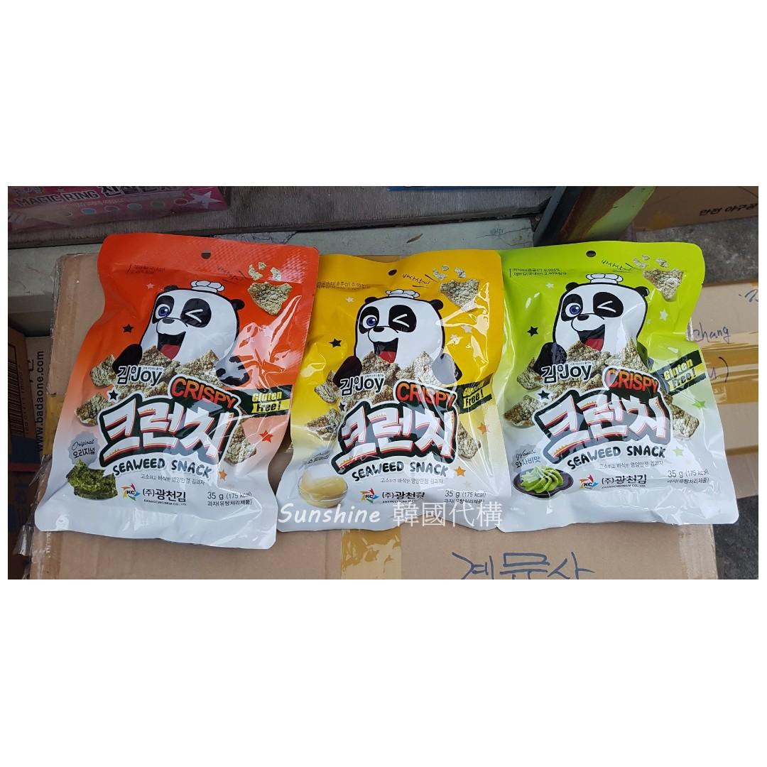 售完 韓國食品 新上市 KCKIM 熊貓脆片餅乾 酥脆可口 35g