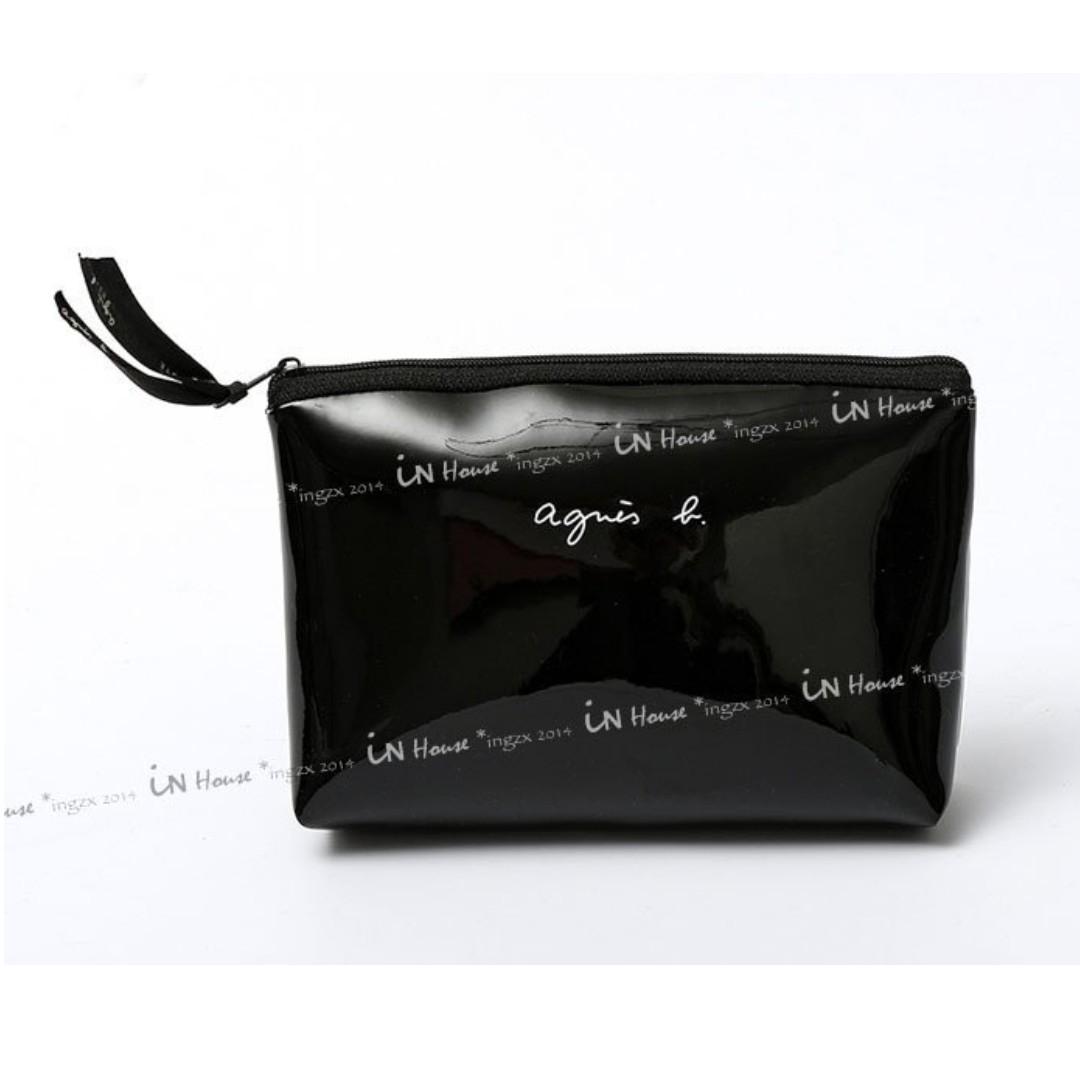 日本專櫃贈品 agnes beaute 黑色 漆皮 緞帶拉鍊 手機包 零錢包 收納袋 化妝包