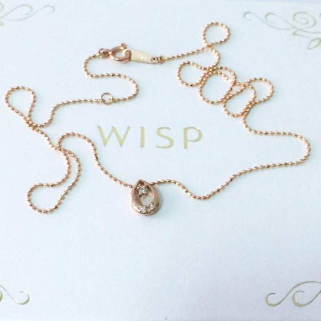 日本輕珠寶 WISP K10 玫瑰K金 真鑽 2分 復古 鏤空 水滴 鑲鑽項鍊 鑽石0.02克拉 鎖骨鍊 細鍊 10K