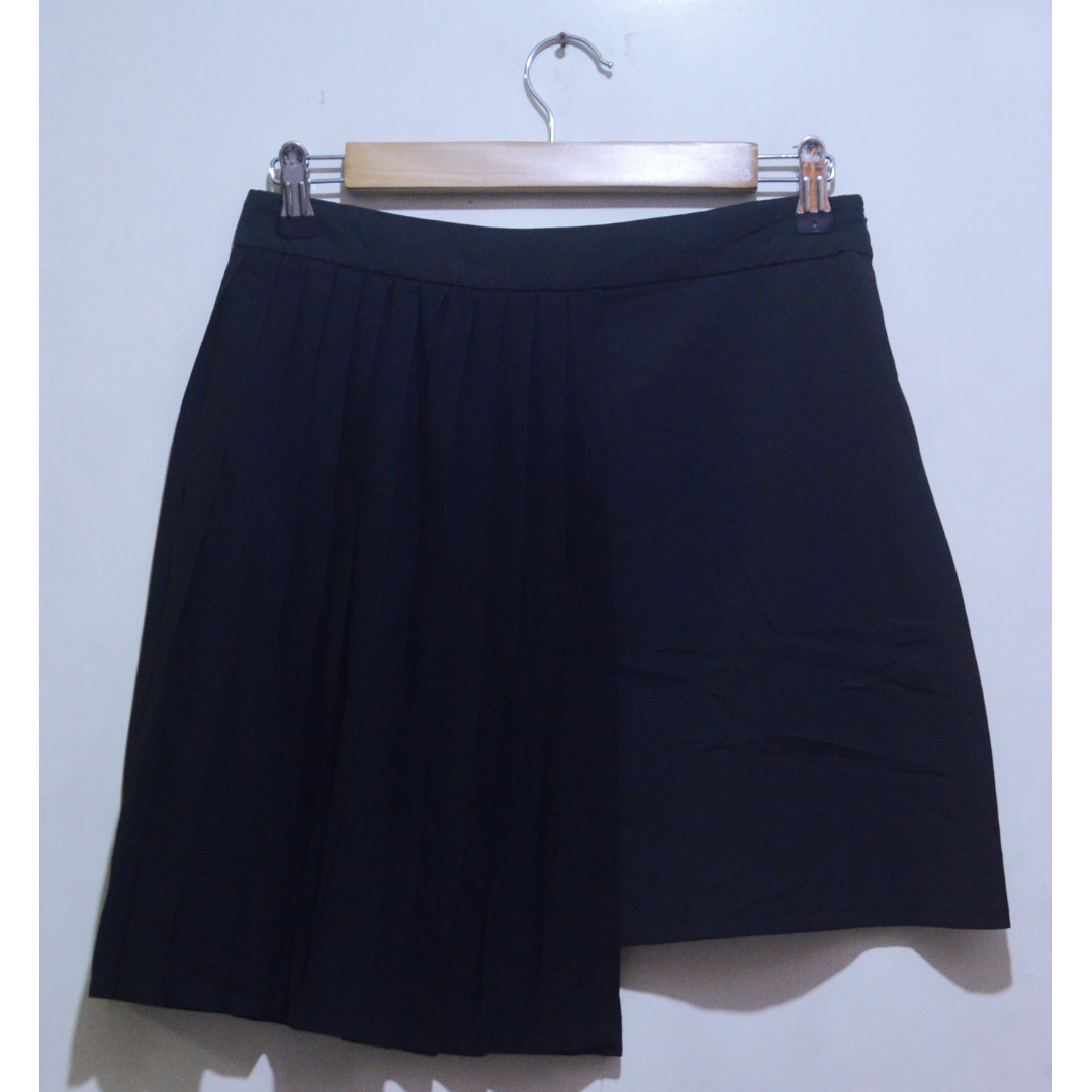A-line Skirt w/ Front Pleat Overlay