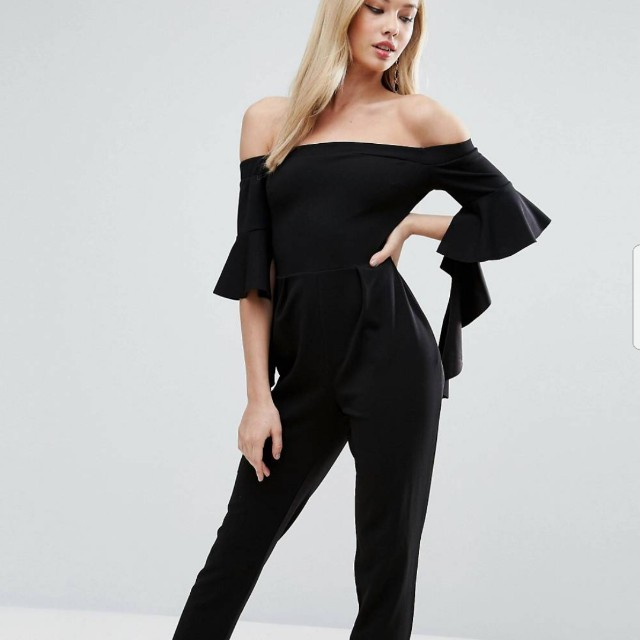 a1d6d9dbf4 ASOS PETITE Jumpsuit with Ruffle Sleeve Detail