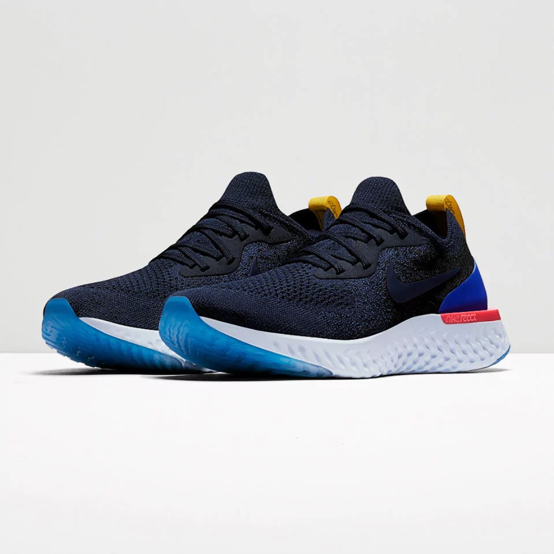 f6c9cbbf0591 Authentic Nike Epic React Flyknit - College Navy   Racer Blue