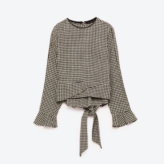 Authentic ZARA gingham checkered top