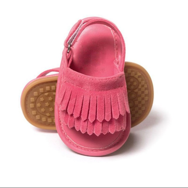 Baby Tassel Crib Shoes - Rose Red