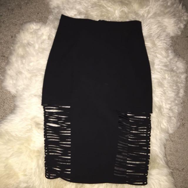 Bardot Cage Detail Midi Skirt