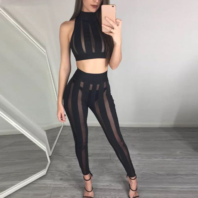 Black stripe see through mesh fitted 2 piece set