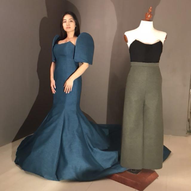 Blue Filipiniana Serpentine Gown