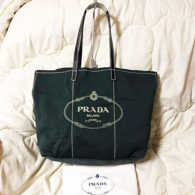 23f909511209a1 BN Prada Giardiniera Printed Canvas Fabric Large Tote Bag, Luxury, Bags &  Wallets on Carousell