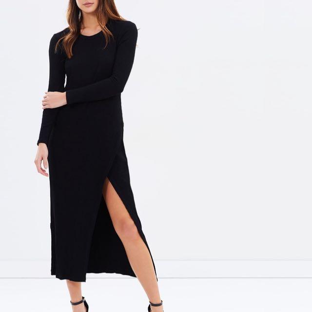 BNWT DELPHINE Black Ribbed Midi Dress Size UK 8/ US 4